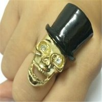 Wholesale Mr Mix - Min.order is $15 (mix order) -Foreign Trade Jewelry Gold Skull Mr. Topper Exaggerated Opening Ring-j205