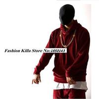 Wholesale Designer Urban - Wholesale-HipHop Fashion Mens Velvet Velour Hood Hoodies Tracksuit Urban Clothing Pocket Front Kanye West Designer Clothes Red Black S-XXL