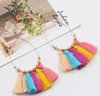 Wholesale Vintage Red Dangle Earrings - Vintage Bohemian Handmade Cotton Tassel Earrings for Women Ethnic Fringe Drop Earrings Party Jewelry Bijoux
