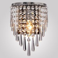 Wholesale Circular Led Light Bulbs - Modern Semi Circular Crystal Wall Lights Chandeliers Home Bedside Bedroom Living Room Crystal Wall Lamp Corridor Stair Led Bulb Light