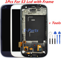 Wholesale S3 Screen Tools - 1Pcs For Samsung Galaxy S3 LCD Display Screen and Digitizer Touch Screen With Logo and Frame i747 L710 T999 i535 i9300 i9305 with Open Tools