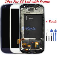 i747 lcd toptan satış-Samsung Galaxy S3 Için 1 Adet LCD Ekran ve Sayısallaştırıcı Dokunmatik Ekran Ile Logo ve Çerçeve Ile i747 L710 T999 i535 Açık Araçları ile i9300 i9305