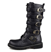 Wholesale Cheap Flat Knee Boots - Men Black Retro Combat Boots Cheap Belt Buckle Punk Martin Motorcycle Boots Leather Military Boots Autumn Men Shoes