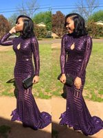 Wholesale Long Gowns For Women - 2017 Bling Bling Mermaid Prom Dresses Purple Long Sleeves Keyhole Front Sexy Formal Evening Party Gowns Custom Made Cheap Dress for Women