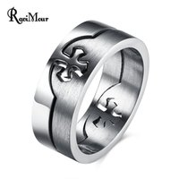Wholesale Dropshipping Ring - New Fashion 8mm Stainless Steel Cross Pattern Ring Men Jewelry Punk Silver Anel Masculino Rock Bague Homme Bijoux Dropshipping