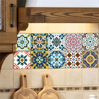 Wholesale Pvc Tiles Bathroom - 10pcs set 20*20cm Mediterranean style Classical flowers pattern Home kitchen bath room tile decorative sticker mural decals wallpaper