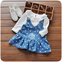 Wholesale Denim Lace Girls Suspenders - Girls Dress Girls Dot Denim Suspender Dresses Long Sleeve White T-Shirt+Dress 2 pcs Kids Spring Clothing