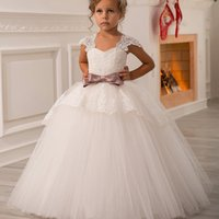 Wholesale Christmas Balls Photos - Designer Lace Ball Gown Flower Girl Dresses Puffy Junior Princess Kids Wedding Dresses Cap Sleeve Purple Bow Beauty Toddler pageant Dresses