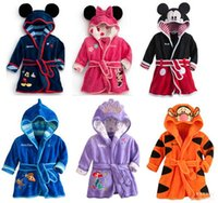 Wholesale Cheap Cotton Baby Clothes - Cheap Bathrobe Charactor Soft Warm Baby Girl Kids Boy Night Bath Robe Fleece Bathrobe sleepwear Homewear Pajamas Clothing