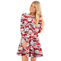 Wholesale Cartoon Print Bodycon - European Station Christmas explosion ladies, cross border cartoon snowman Printed Dress 2017 autumn and winter wholesale