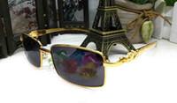 Wholesale Black Yellow Rims - 2017 New Brand Designer Half Rim Sunglasses Half Frame Leopard Gold Metal Alloy Frame Goggles Buffalo Women Semi Rimless Glasses Oculos de