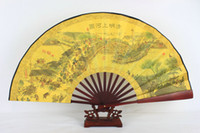 "Wholesale handicraft cloth - 10"" Vintage Large Male Folding Hand Fan Ethnic Handicrafts Gift Home Decoration Chinese Silk Cloth Printed Fans"