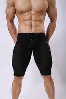 Wholesale transparent mesh shorts sexy men - Sprots Wear Brave Person Men's Fashion Sexy Transparent Shorts Breathable Bodybuilding Solid Tights Mesh Shorts Size S-XL