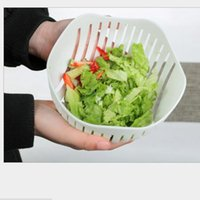 Wholesale Plastic Salad Boxes - White Salad Cutter Bowl In 60 Second Maker Healthy Fresh Salads Fruit Vegetable Cutter Cutter PP Bowl Kitchen Tools with Retail Box