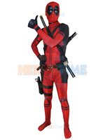 Wholesale 3d Movie X - Red X-Force Deadpool Movie Costume 3D Printed Mens Women Kids Adults Deadpool Cosplay Suits Halloween Zentai Full Body Suit