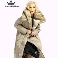 Wholesale Winter Clothes Designs For Women - 2017 Queen Goddess design for cocoon coat winter long duck down jacket women high quilty parkas outwear hooded clothing