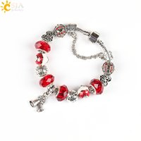 CSJA Christmas Gift Charm Pulsera Vintage Sparkling Women Jewelry Section Glass Tortuga Shell Muérdago Bolas Bell E220