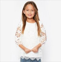 Wholesale Girls Princess Tee Shirts - Teenager Crochet Lace T-shirts Junior Princess Hallow out Tees Big Baby Girls Summer Jumper tops 2017 childrens clothing