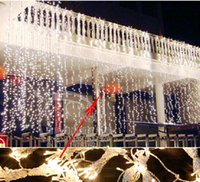 Vente en gros-10Mx5M Outdoor Wedding Party XMAS fournitures conduit des feux de la ficelle feux de fond de décoration LED rideau de Noël 220V 110V