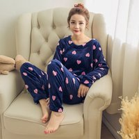 Wholesale Cartoon Pyjamas For Women - Wholesale- Adult Flannel Pajamas Sets mujer Adults Cartoon Thick Warm Women Pyjama Sets Sleepwear For Ladies Nightwear