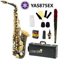 Wholesale Black Nickel Alto Saxophones - Wholesale- New Nickel Plated Black Saxophone Alto Sax YAS 875 EX Musical Instruments Professional E-flat Sax Alto Saxofone Saxophone