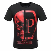 Wholesale Drill Shirts - M-3XL 2017 new style Tide brand men's Hot drilling and printing Designer Man T-shirts Stretch cotton top quality pp tshits Skull 8188