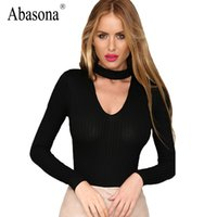 Wholesale Sexy Yellow Leotard - 2017 New Arrival T-Shirt Deep V-neck Women Sexy Ribbed T Shirt Summer Style Leotard Long Sleeve Tops Hollow Out Womens Top