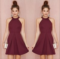 Wholesale Little Girls Champagne Vintage Dress - Sexy Short Burgundy Homecoming Party Dresses 2017 Halter Backless A Line Above Knee Length Prom Gowns Custom Made Girls Cocktail Dress