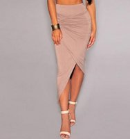 Wholesale Hip High Slit - Women Skirts 2017 new Ladies Ruched Side Split Slim Skinny Slit Maxi Long Pencil Skirt Fashion sexy high waist Package hip skirt
