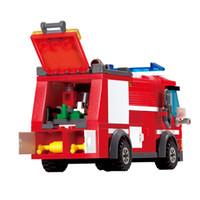 Wholesale Enlighten Kazi - odels Building Toy Blocks KAZI 8054 Fire Truck Building Blocks Set Model 206+pcs Enlighten Educational DIY Construction Bricks Toys For C...