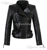 Wholesale Womens Long Sheepskin Coat - Wholesale-America new long-sleeved street woman jackets motorbike 100% genuine sheepskin leather jacket womens high quality coat S - 3XL