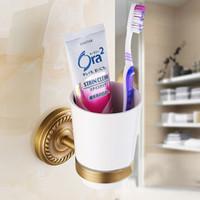 Wholesale Golden Bathroom Accessories - Golden Brass Glass Bathroom Accessories Single Cup Tumbler Holders,Toothbrush Cup Holders