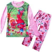 Wholesale Grils Sets - grils children pajamas trolls Christmas children's pajamas children's clothing sets Girls Pajamas Home Clothes Sets