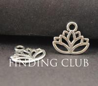 Wholesale Lotus Flower Bracelets - Wholesale-50 pcs Zinc Alloy Antique Tibetan Silver Lotus Flower Charms Pendant Fit DIY Metal Bracelet Necklace Jewelry Findings A771