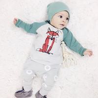 Wholesale Infant High Tops - Wholesale- Newborn clothing set 2015 3pcs Baby Boys Girls Fox Top+Pants+Hat Set Newborn Infant Cotton Romper baby boy clothes High Quality