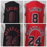 Wholesale Basketball Pick - 2017 Newest Draft Pick Men's #24 Lauri Markkanen #8 Zach LaVine Jersey Black Red All Stitched Basketball Jersey S-XXL