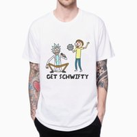 Wholesale GET SCHWIFTY RICK AND MORTY T SHIRT CARTOON D PRINTED Men s T shirts FASHION MALE SHORT SLEEVE O NECK WHITE TEE PLUS EUROPE SIZE