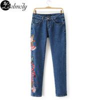 Wholesale Brand New Ladies Jeans - Wholesale- High Fashion New Brand 2017 Women Jeans Vintage High Waist Flower Embroidery Ladies Denim Pants Pantalones De Mujer YC12872
