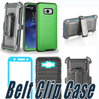 Wholesale Cover Clips - Hybrid Brushed Dual Layered Defender Armor Case Belt Clip Cover With Screen Film For iPhone X 8 7 6 Plus 5 5S SE