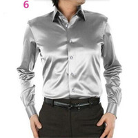 Men Dress Shirt Ternos Casual Personalizado Seda Satin Manga comprida Casual camisas moda estilo Groom Shirts pure color