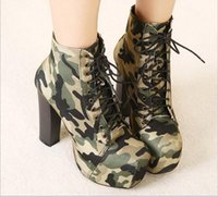 Camouflage Army Green Shoes Canvas Round Toe Thin 14cm Bottom High Heels Plataforma Bombas Slip-On Non-Leather Women Shoes