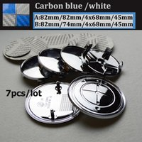 Wholesale White Car Hood Sticker - 7pcs set 82mm 74mm carbon fiber blue white logo car emblem Front Hood rear Emblem 68mm Wheel Hub Cap label badge 45mm steering wheel sticker