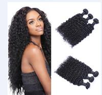 perulu saç ücretsiz gönderim toptan satış-Işlenmemiş Brezilyalı Perulu Hint Malaysiay Bakire Saç Jerry Kıvırcık Saç Örgü Saç Uzantıları Doğal Renk 3 adet / grup Ücretsiz Kargo