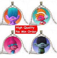 Wholesale Glass Jewlery - 10 Style New Arrive Cute Fairy Trolls Glass Necklace Silver Jewlery Body Chain Long Cartoon Jewelry Best Christmas Gift For Child NS162