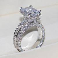 anillo de plata 925 de piedra grande al por mayor-Vecalon mujeres grandes joyas anillo princesa corte 10ct diamante piedra 300 unids Cz 925 anillo de compromiso de plata esterlina regalo