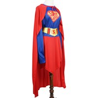 Wholesale Superwomen Halloween Costumes - Fantast Costumes Super Hero Lady T-Shirt With Cape Costume Dress For Wowen Festival Halloween superwoman cosplay