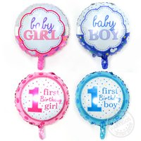 Wholesale First Baby Toy - 50pcs lot Newstyle Baby boy girl 1st birthday balloons 18inch number foil globos 10pcs for first happy birthday party decoration ballons