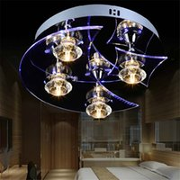 Wholesale Moon Pendant Lamp - LED Modern Crystal 20W Ceiling Light Moon and Star Pendant Lamp Fixture Lighting Chandelier G4 4 Bulbs lamp for Hallow Office Bar