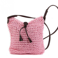 Wholesale Wholesale Coffee Bags Handbags - 2017 New Boho Style Small Beach Crossbody Straw Bags Summer Fashion Braid Handmade Women Shoulder Bag Handbags