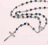 colliers bijoux abs achat en gros de-DHL livraison en gros Bijoux De Mode colophane 6mm ABS Mode Religieux Collier Simulé Perles Perles Rosaire Collier Croix